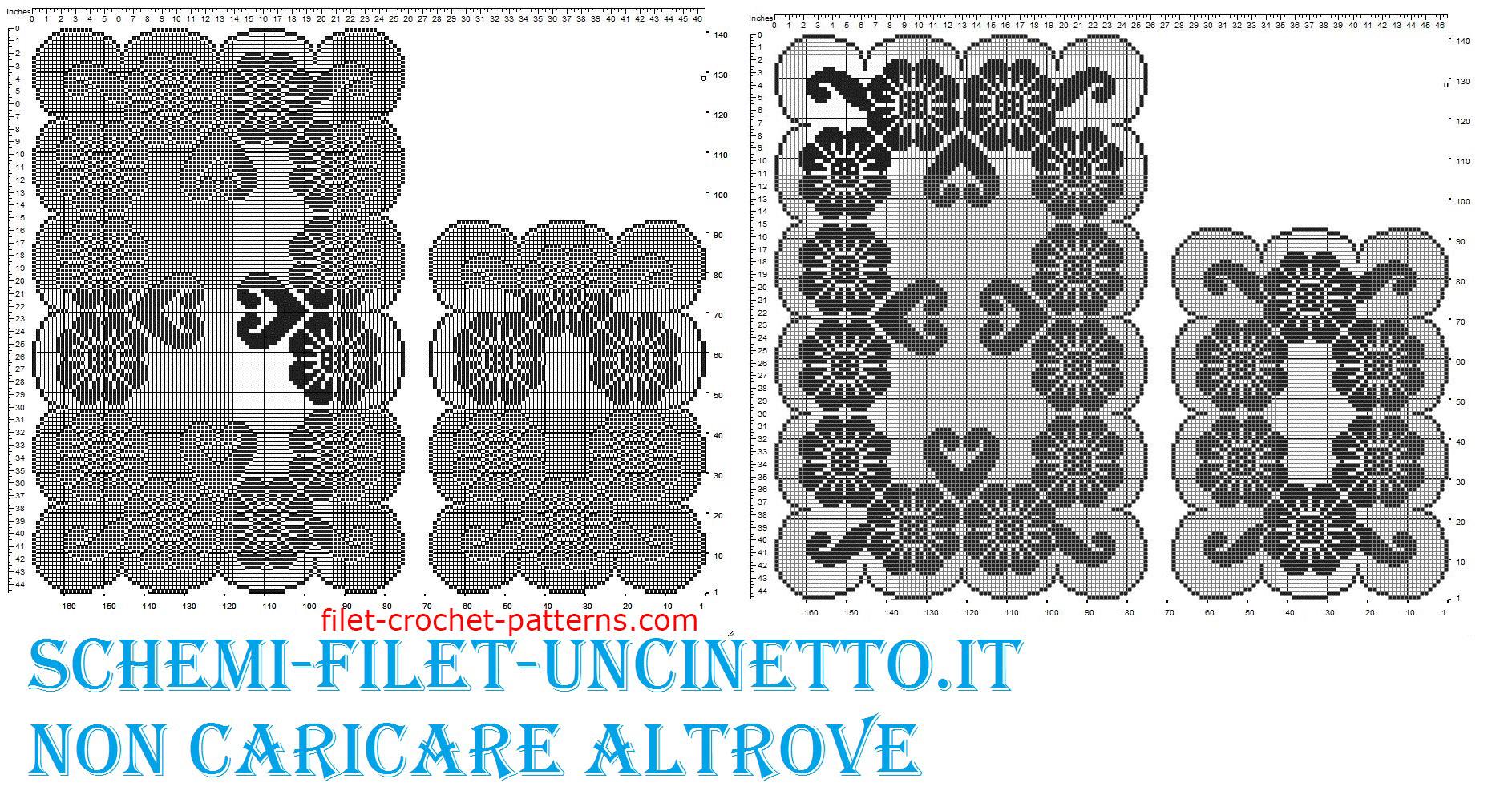 Triptych flowers free filet crochet pattern