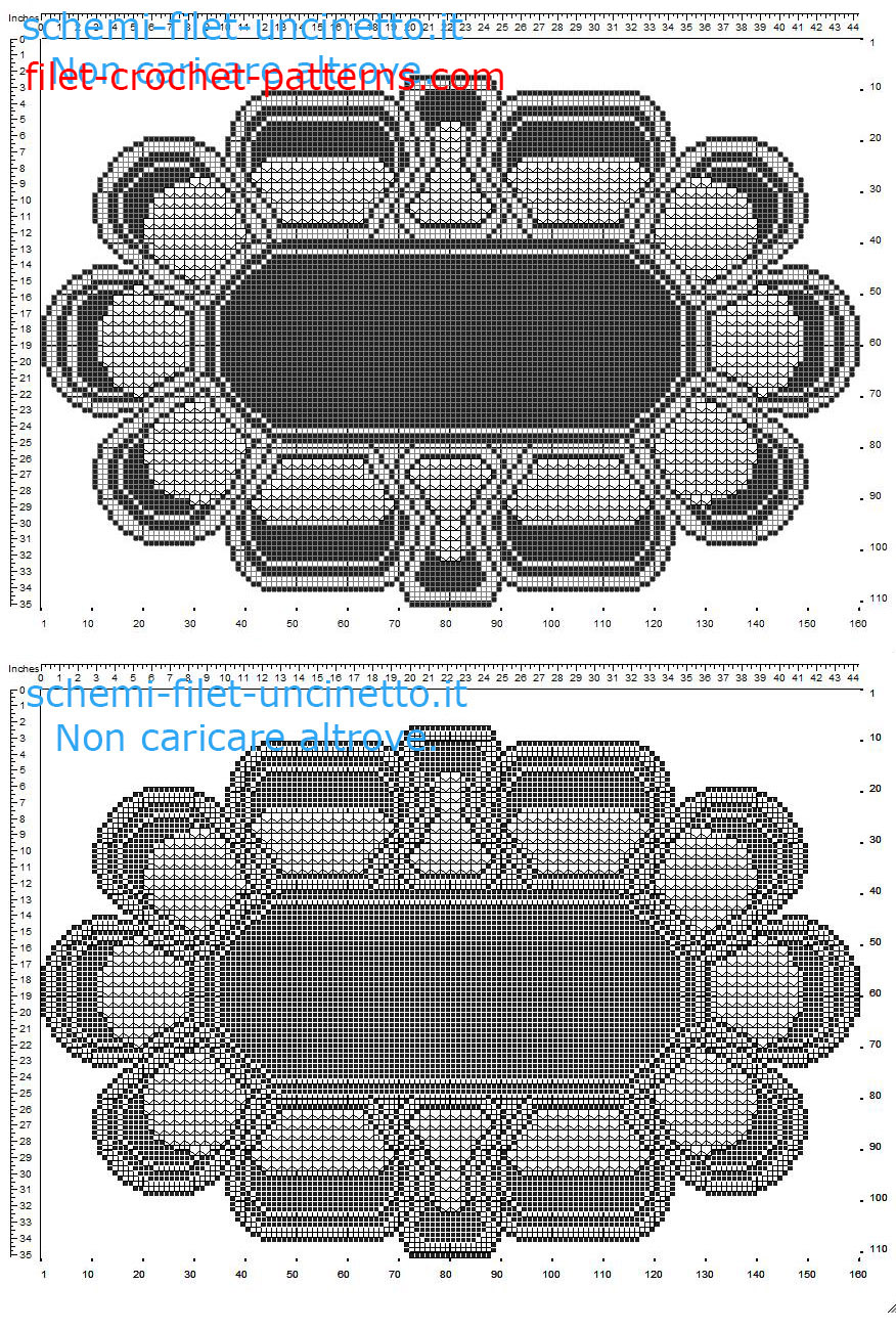 Triptych with flowers daisies petals free filet crochet pattern part 2