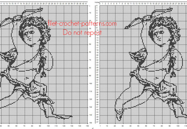 Vintage Angel with a bow free crochet filet pattern in religious category