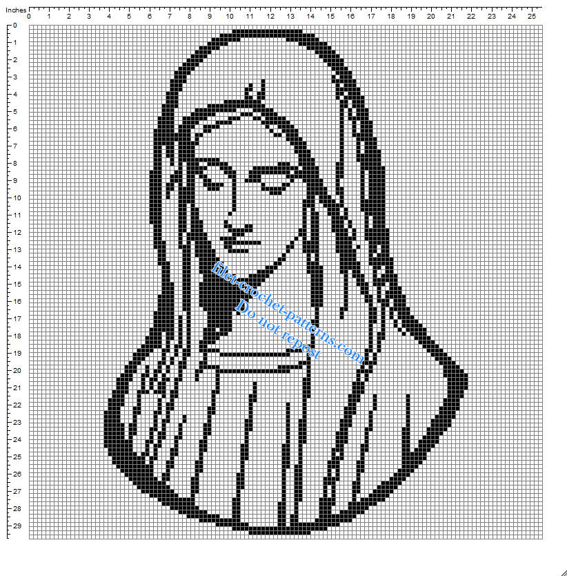Virgin Mary small simple free crochet filet pattern