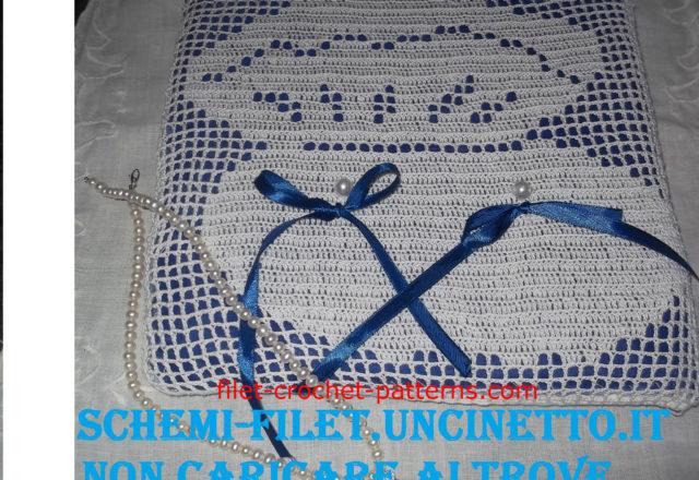Wedding ring pillow oyster free filet crochet pattern (1)