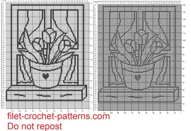 curtain filet crochet pattern vase of tulips on window