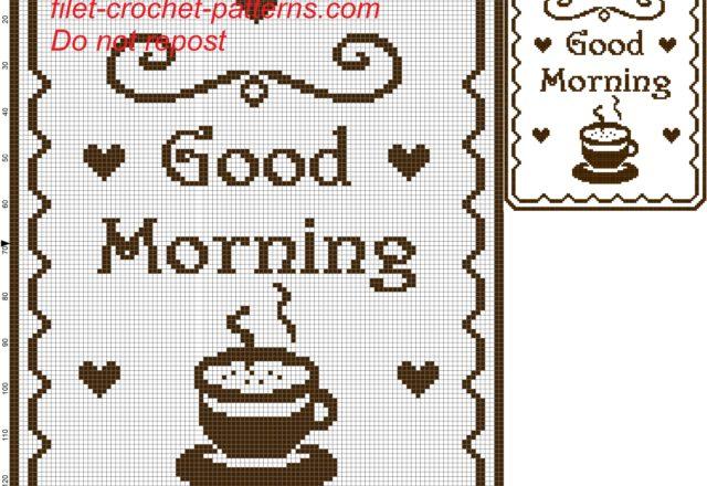 curtain good morning filet crochet pattern